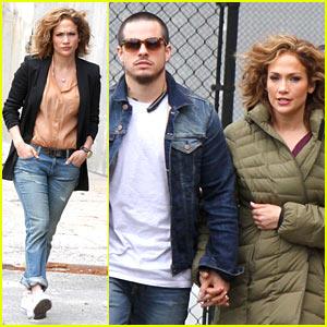 Jennifer Lopez Holds Hands with Casper Smart on 'Shades of Blue' Set