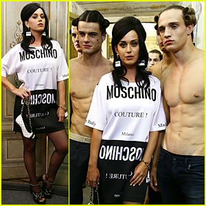 Katy Perry Gets Surrounded By Hot Shirtless Models at Moschino Fashion Show