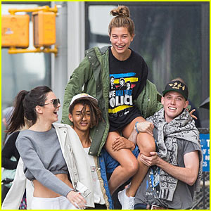 Kendall Jenner Laughs as Jaden Smith Gives Hailey Baldwin Shoulder Ride