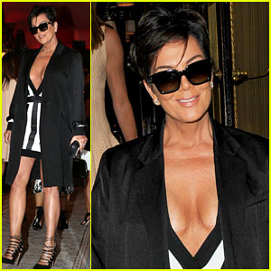 Kris Jenner Shows Lots of Cleavage for Paris Night Out