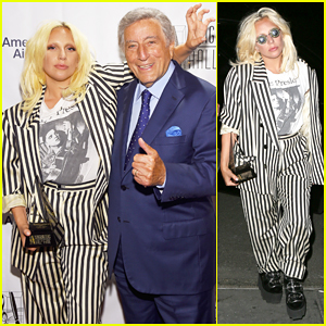 Lady Gaga Channels Beetlejuice In Striped Suit After Accepting Icon Award at Songwriters Hall of Fame Gala!