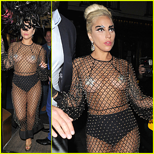 Lady Gaga Shows Off Boobs & Underwear in Barely There Fishnet Outfit