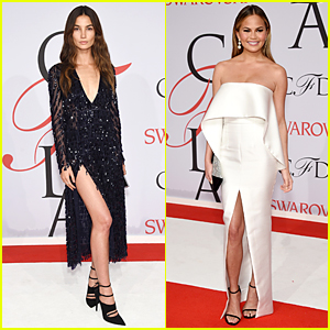 Lily Aldridge & Chrissy Teigen Wear Sexy High-Slitted Dresses at CFDA Fashion Awards 2015