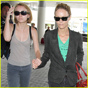 Lily-Rose Depp Flies Out of LAX Airport with Mom Vanessa Paradis