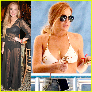 Lindsay Lohan Flashes Black Bra & Underwear at FIA Formula Dinner