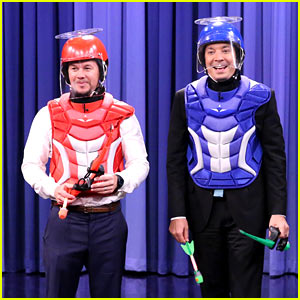 Mark Wahlberg & Jimmy Fallon Shoot Objects Off Each Other's Heads (Video)