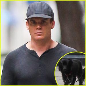 Michael C. Hall Walks His Cute Pet Pooch in the West Village