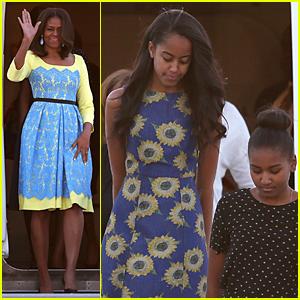 Michelle, Malia, & Sasha Obama Dress to Impress For London Arrival