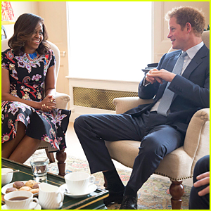 Michelle Obama Meets Prince Harry For Tea at Kensington Palace