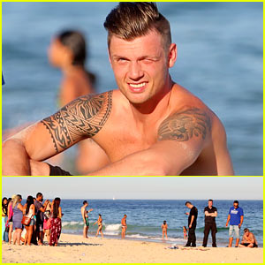 Nick Carter Literally Had an Audience at the Beach in Rio