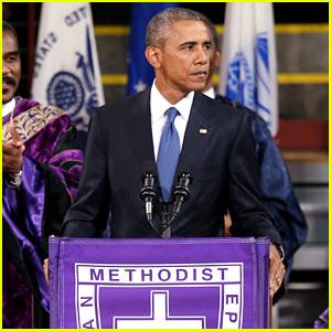Obama Sings 'Amazing Grace' During Eulogy for Rev. Pinckney (Video)