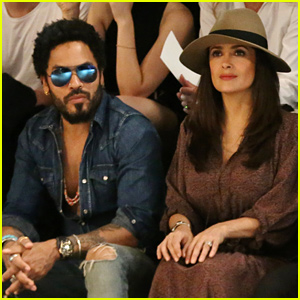 Salma Hayek & Lenny Kravitz Sit Front Row for Saint Laurent!