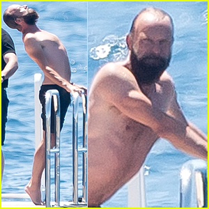 Sting Does Shirtless Stretches in Cannes