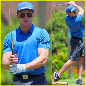 Zac Efron's Muscles Bulge Out of His Shirt While Playing Golf