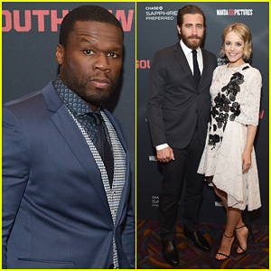 50 Cent Makes First Post-Bankruptcy Appearance at 'Southpaw' Screening with Jake Gyllenhaal & Rachel McAdams!