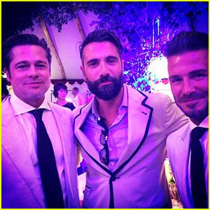 Brad Pitt & David Beckham Hang Out at Guy Ritchie's Wedding