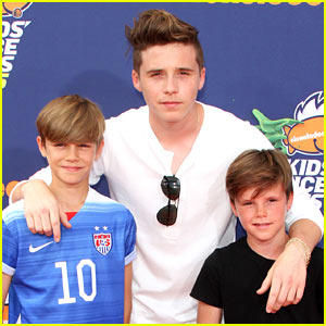 Brooklyn Beckham Walks Kids' Choice Carpet with His Bros!