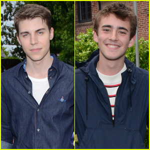 Nolan Gerard Funk & Charlie Rowe Mingle at Just Jared's Summer Bash 2015!