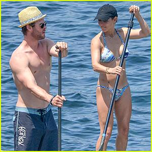 Shirtless Chris Hemsworth & Bikini-Clad Elsa Pataky Show Off Their Beach Bodies in Corsica