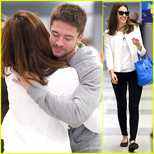 Emmy Rossum & Topher Grace Run Into Each Other at JFK Airport