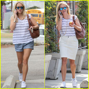 Reese Witherspoon Effortlessly Switches From Shorts to Skirt