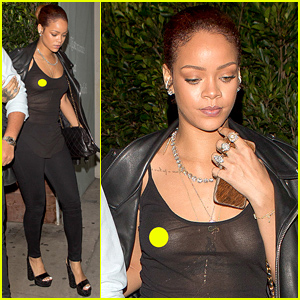 Rihanna Exposes Herself in a Completely Sheer Top!