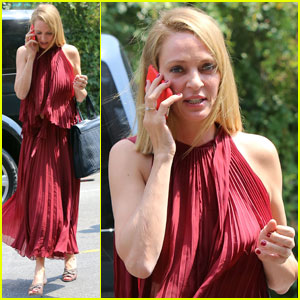 Uma Thurman is a Beauty in Red for 'The Brits Are Coming'
