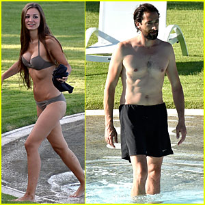 Adrien Brody & Girlfriend Lara Lieto Have Fun Poolside