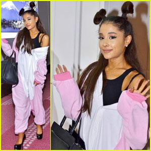 Ariana Grande Arrives in Tokyo Wearing a Unicorn Onesie