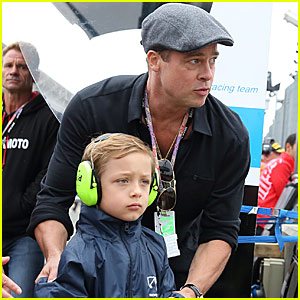 Brad Pitt & Knox Have a Father-Son Day at the British Grand Prix