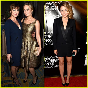 Dakota Johnson & Brie Larson Reunite at HFPA Event!