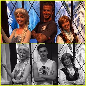 David Beckham Makes Harper's Day By Posing with Frozen's Elsa & Anna at Disneyland!