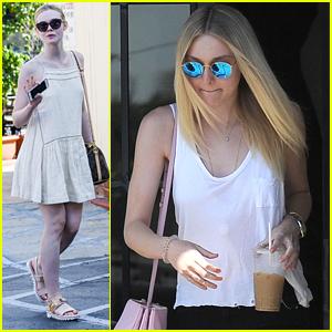 Dakota Fanning & Sister Elle Get Separate Pampering Sessions Around Los Angeles