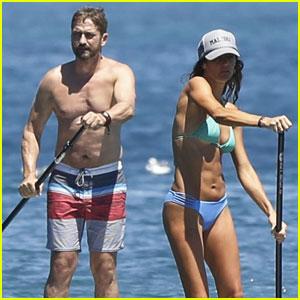 Gerard Butler Goes Shirtless While Hitting the Beach With Bikini-Clad Girlfriend Morgan Brown