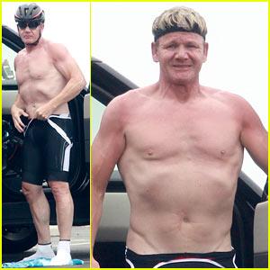 Gordon Ramsay Goes Shirtless for Malibu Bike Ride