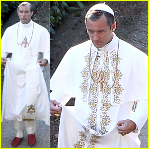 Jude Law Dresses as the Pope On Set of 'The Young Pope'
