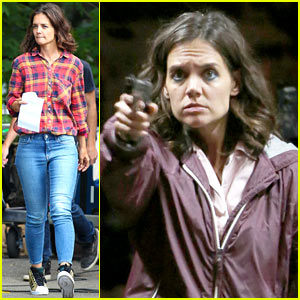 Katie Holmes Pulls Out a Gun While Filming an Intense Scene