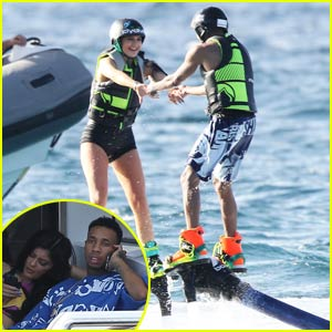 Kylie Jenner & Tyga Hold Hands While Flyboarding Together!