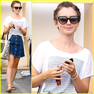 Lily Collins Grabs Lunch In West Hollywood