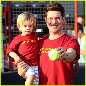 Michael Buble Throws Out First Pitch with Cutie Son Noah!