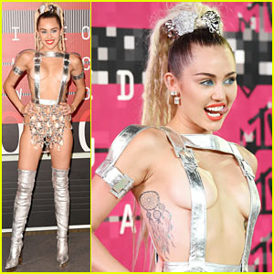 Miley Cyrus Wears Almost Nothing on MTV VMAs 2015 Red Carpet
