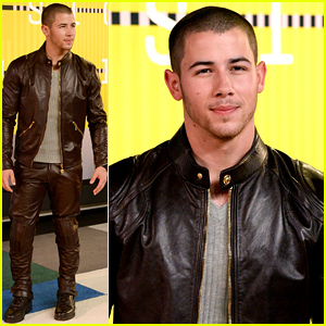 Nick Jonas Rocks a Leather Look at MTV VMAs 2015