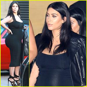 Pregnant Kim Kardashian's Baby Bump Is on Full Display in Super Tight Dress!