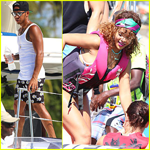 Rihanna & Lewis Hamilton Kick It In Barbados