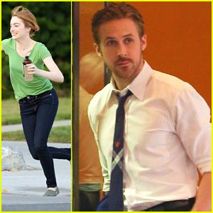 Emma Stone Has A Race Around The 'La La Land' Set