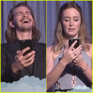 Andrew Garfield & Emily Blunt Read Live Mean Tweets About Themselves on 'Jimmy Kimmel Live' (Video)