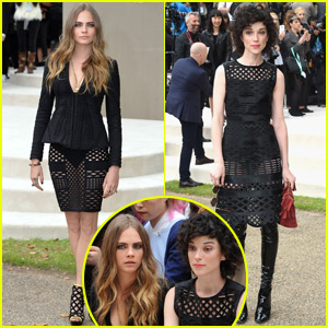 Cara Delevingne & Girlfriend St. Vincent Mingle With Suki Waterhouse at Burberry London Show