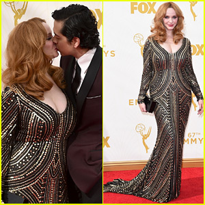 Christina Hendricks & Husband Geoffrey Arend Are Red Carpet Ready for Emmys 2015!