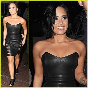 Demi Lovato Rocks Tight Leather Dress In London