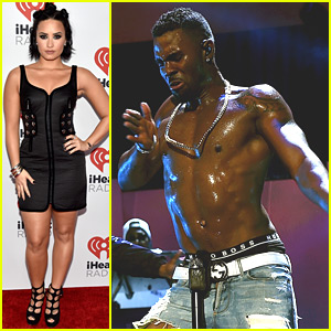 Jason Derulo Goes Shirtless At iHeartRadio Music Festival With Demi Lovato